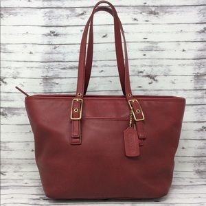 COACH Red Leather Shoppers Tote Handbag